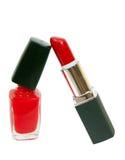 Red nail polish and stick Stock Photo