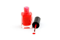 Red nail-varnish. Isolated on white background Royalty Free Stock Photography