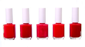 Red nailpolish set isolated Royalty Free Stock Images