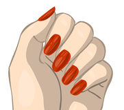Red nails. Hand with red nails. clipping path included Stock Images