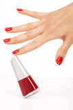 Red nails Stock Images