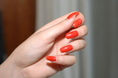 Red Nails Stock Image
