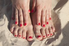 Red nails Royalty Free Stock Photo