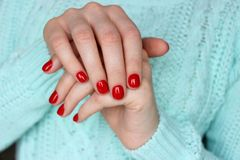 Red nails, manicure royalty free stock images