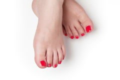 Red nails after pedicure Royalty Free Stock Photos