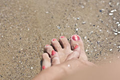 Red Nails With Sand Effect Royalty Free Stock Photography