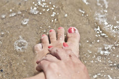 Red Nails With Sand Effect Royalty Free Stock Photos