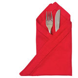 Red napkin with cutlery Stock Image