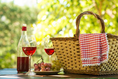 Red napkin picnic basket. And table place. Copy space Stock Photos