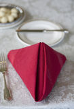 Red Napkin and Place Setting Royalty Free Stock Images