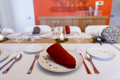 Red Napkin Table Setting on China Stock Image