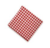 Red napkin on a white background. Plaid gingham tablecloth for cafe and restaurant design.  Royalty Free Stock Image