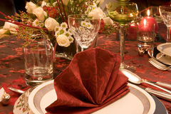 Red napkins with Christmas Stock Photos