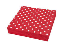 Red napkins. Isolated on the white background Stock Photography