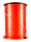 Red narrow ribbon coil for holiday gift or present packing Stock Photos