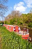 Red narrowboat Royalty Free Stock Photo