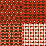 Red Native American Patterns. Four different Native American patterns in red, brown, and tan royalty free stock photo