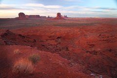 Red Navajo Sandstone of Monument Valley. The Beautiful Red Navajo Sandstone of the Iconic Landscape of Monument Valley stock image