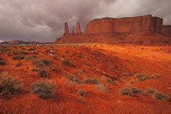 Red Navajo Sandstone of Monument Valley. The Beautiful Red Navajo Sandstone of the Iconic Landscape of Monument Valley stock images
