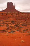 Red Navajo Sandstone of Monument Valley. The Beautiful Red Navajo Sandstone of the Iconic Landscape of Monument Valley stock photo
