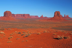 Red Navajo Sandstone of Monument Valley. The Beautiful Red Navajo Sandstone of the Iconic Landscape of Monument Valley stock photography
