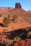 Red Navajo Sandstone of Monument Valley. The Beautiful Red Navajo Sandstone of the Iconic Landscape of Monument Valley royalty free stock photography