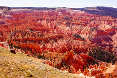 Red Navajo sandstone pinnacles and cliffs Stock Images