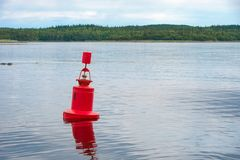 Red navigation buoy in the White Sea. Off the coast of the Solovetsky Island royalty free stock photos