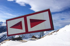 Red navigation sign in the Alps Royalty Free Stock Photo