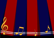 Red Navy Blue Music Note Background. Vector Illustration Royalty Free Stock Photo
