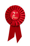 Red 2nd place ribbon rosette Stock Images