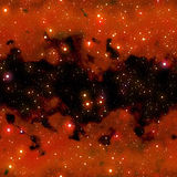 Red nebula. Night sky with stars and red nebula that tiles seamless in all directions Stock Photography