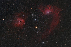 Red nebula in the night sky Royalty Free Stock Images