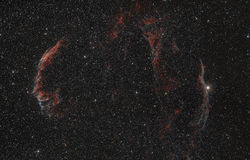 Red nebula in the night sky Stock Photo