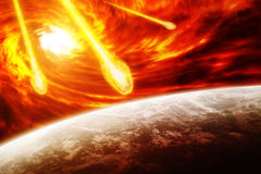 Red nebula in space with planet Earth Stock Image