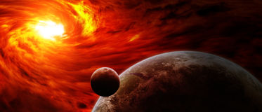 Red nebula in space with planet Earth Stock Photo