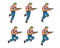 Red Neck Knife Jumping Sprite stock illustration