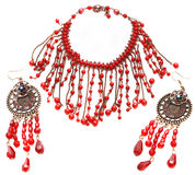 Red necklace and earring Stock Photo