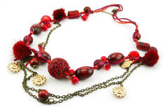 Red Necklace Isolated on White Stock Photos