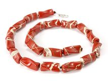 Red necklace from a jasper Stock Photography