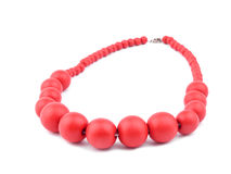 Red necklace on white Royalty Free Stock Photos