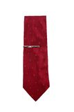 Red necktie. A red necktie with pin on isolated Stock Image