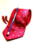 Red Necktie with pencil and chili symbolic expression of mood  Royalty Free Stock Photo