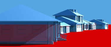 Red Neighborhood. 3D illustration of a neighborhood. Blue homes against the red ground and blue sky. Useful for all real estate and home owners associations Stock Images