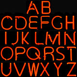 Red neon alphabet stock photo