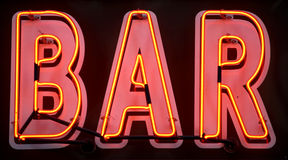 Red neon bar sign. Manhattan, new york, new york state, america, usa stock photography