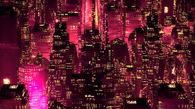 Red neon city skyscrapers modern technology concept Royalty Free Stock Photography