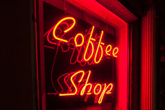 Red Neon Coffee Shop sign left side version closer Royalty Free Stock Image