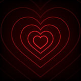 Red Neon heart. Background Stock Photo