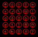 Red neon icons Royalty Free Stock Image